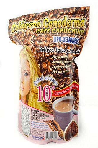 Coffee Cappuccino Lipo Demogras Collagen Ganoderma Maca Ginseng Reishi Mushroom Weigh Loss Younger Look 15 Sachest