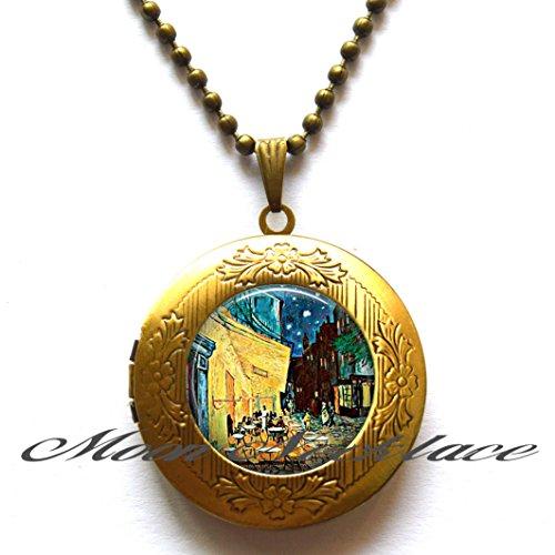 Cafe Terrace art Locket necklace, art jewelry bistro jewelry restaurant Locket pendant restauranteur's gift Paris travel , Friendship Jewelry ,Birthday gift -