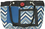 2 Red Hens Studio Rooster Diaper Bag, Chevron Stripes Blue