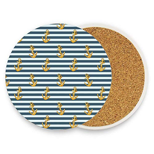 - Harbour Stripe Old Fashion Stylish Nautical Fashion with Anchors Coast Theme Earth Yellow Slate Blue Coaster for Drinks Absorbent Stone Coaster, Cups Holder Coffee Mug Cup Mat Pack Of 1