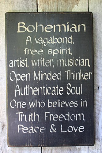 Bohemian Definition Wood Sign Gypsy Art Free Spirit Boho Decor Dorm Decor Hippie Decor Babe Cave Primitive Wood Sign Gift Idea Wall Decor 18 in -