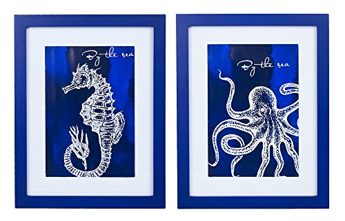Coastal Life by the Sea Framed Wall Art / Plaques Blue Octopus &