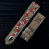 Custom Handmade Premium Calf Leather Watch Band Gunny Straps - Gucci x Snake for Apple Watch 42mm