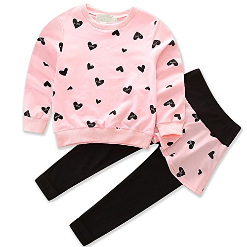 Little Girls Cute Heart Pajamas Sets Toddler Long Sleeve Sleepwear Outfits Pure Cotton 2 Piece for Kids