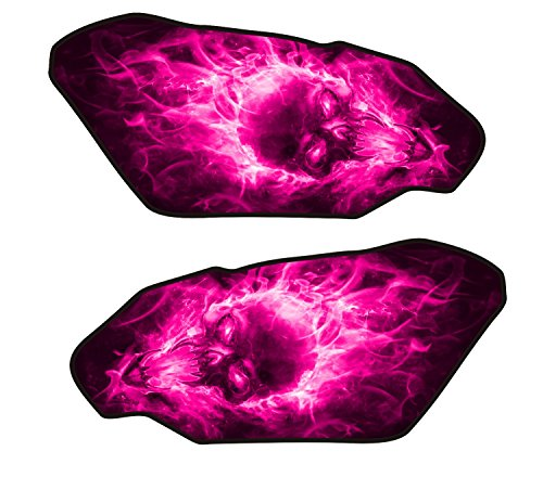 Size is 4.4 in tall x 9.3 in wide Universal Exploding Flaming Fire Skull Pink v2 3d Gel Motorcycle Gas Tankpad side ()