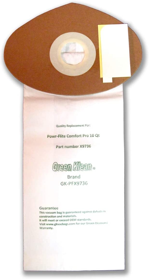 Green Klean GK-PFX9736-10 Qrt 10 qt. Powr Flite Comfort Pro Backpack Closed Collar Replacement Vacuum Bags - Pack of 100