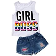 Emmababy Infant Baby Kids Girl Cotton Sleeveless Vest T-Shirt Tops+ Shorts Hole Jeans Pants Trousers Outfit Set (White, 1-2Years)