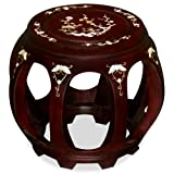 ChinaFurnitureOnline Hand Crafted Butterfly and Floral Design Rosewood Pearl Inlay Motif Chinese Stool – Dark Cherry, 13″ H Review