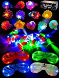 LED Light Up Toy Party Favor Party Pack -44 LED Finger Lights, 12 LED Flashing Bumpy Rings and 4 Flashing Slotted Shades Glasses