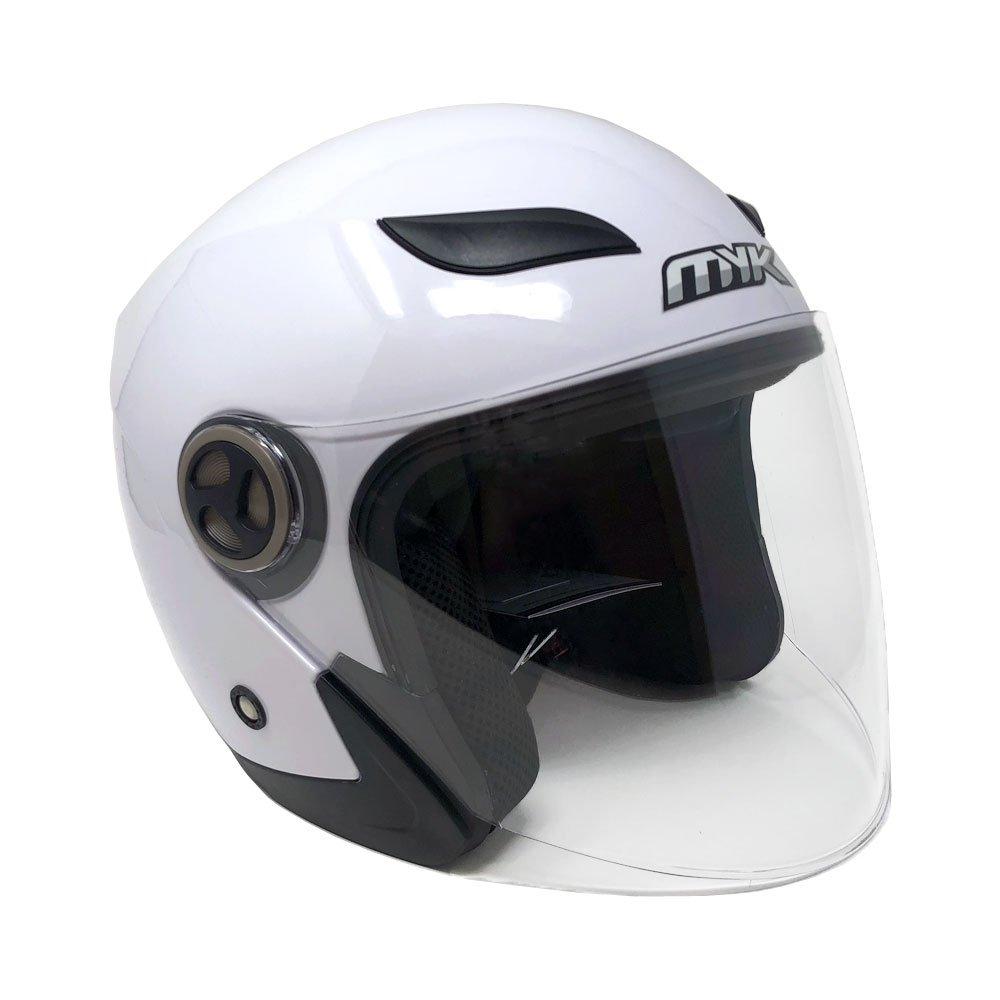MYK Powersports Helmets Open Face Flip Up Clear Shield - DOT Street Legal - Shiny White (Large) Model 619