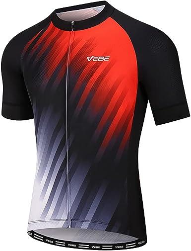 VEBE Men's Lightweight Cycling Jersey Short Sleeve Bike Shirts Reflective Quick-Dry Biking Tops with Three Pockets