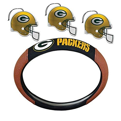 NFL Fan Shop Auto Bundle. Premium Pigskin Leather Accented Steering Wheel Cover with Embroidered Team Name and Logo along with a 3-Pack of Team Helmet Air Fresheners (Green Bay Packers)