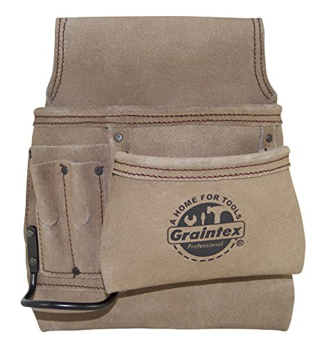 (Graintex SS2291 5 Pocket Suede Leather Right Handed Nail & Tool Pouch Wide Belt Tunnel Slot)