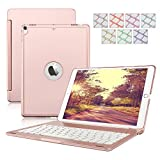 iPad Keyboard Case for iPad 9.7 2018/2017,Dingrich 7 Color Backlit Aluminum Hard Shell Bluetooth Keyboard Case for iPad 5th and 6th Generation (NOT for iPad Pro 9.7) (Rose Gold)