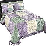 Mariel Patchwork Chenille Bedspread, Purple, King