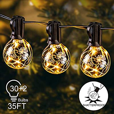 Globe String Lights Outdoor, 35ft G40 LED Light String Shatterproof 30 Bulbs E12 Base Decorative Lighting Hanging Patio Waterproof Outside Garden Backyard Bistro Porch Balcony Gazebo Party Christmas