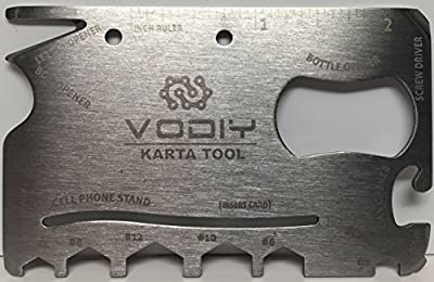 VODIY QP-P106 Credit Card Size, Compact, Durable, 18-in-1 Multi-Tool, Perfect for Camping, Hiking & Emergency Use from VODIY
