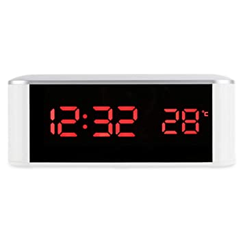 NDSNQ Led Espejo Electrónico Alarma Hora Temperatura Visualización Posponer Función Escritorio Reloj Digital Led Reloj Despertador S: Amazon.es: Hogar
