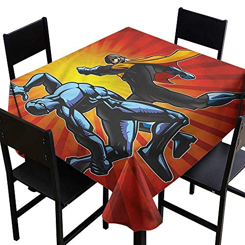 haommhome Elegant Waterproof Spillproof Polyester Fabric Table Cover Superhero Fighter Punching Villian Soft and Smooth Surface W50 xL50 Indoor Outdoor Camping Picnic