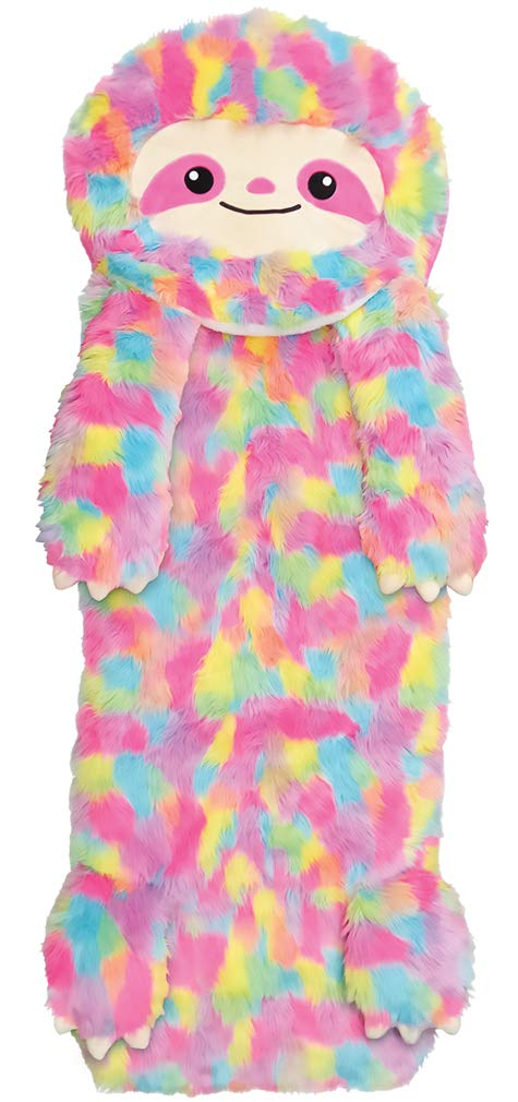 iscream Furry Rainbow Sloth 73'' x 25'' Faux Sherpa-Lined Plush Fleece Zippered Sleeping Bag