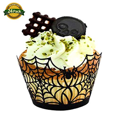 24 PACK Cupcake Wrappers Halloween Party Spider Web Cake Hollow Cake Border Wedding Birthday Party Decoration ()