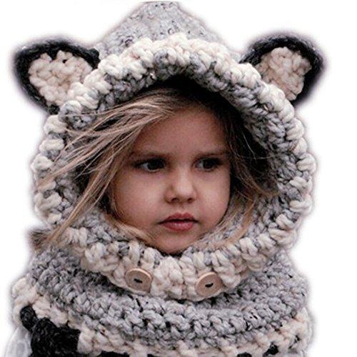 ttnight Cute Knitted Cat Fox Ear Winter Windproof Baby Hats Set for 3-48 Months Children (Grey) ()