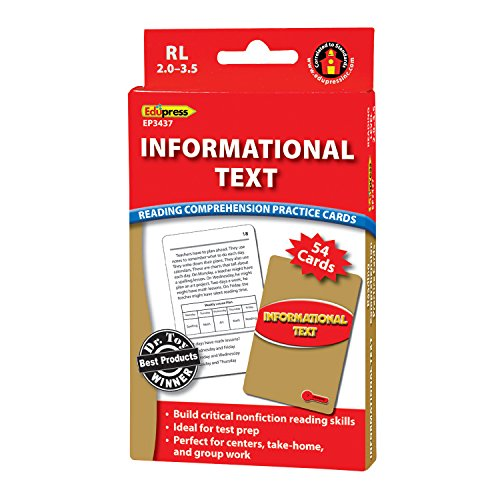 Edupress Reading Comprehension Practice Cards, Informational Text, Red Level (EP63437)