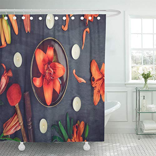 Semtomn Shower Curtain Tibetan Singing Bowl Floating in Water Lily Inside Special Shower Curtains Sets with 12 Hooks 72 x 78 Inches Waterproof Polyester Fabric