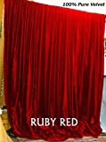 Cheap Ruby Red Velvet Curtain, Vintage Cotton Velvet Curtain and Drape – Select Size, Made from 100% VINTAGE COTTON VELVET UPHOLSTERY FABRIC (100 by 108 in)