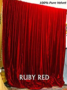 Amazon Com Indiaz Trends Ruby Red Velvet Curtains 90 In