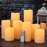 """Flameless Candles, Outdoor Indoor Waterproof Battery Candles Set of 9(H 4"""" 5"""" 6"""" x D 3"""")With Remote Timer by Comenzar (Ivory yellow)(Batteries not included)"""