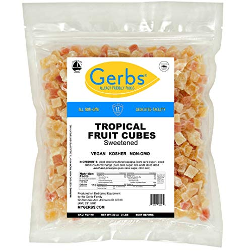 Diced Tropical Fruit Mix, 2 LBS By Gerbs - Top 14 Food Allergy Free & NON GMO Sulfur Dioxide & Preservative Free - Diced Mango, Pineapple, Papaya Sweetened ()