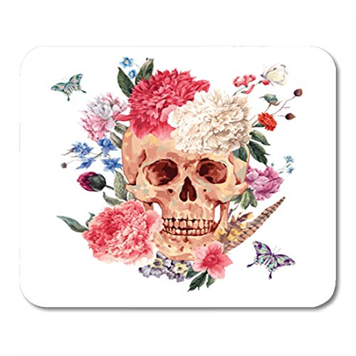 Semtomn Gaming Mouse Pad Vintage Watercolor Skull and Pink Peony Wildflowers Bouquet Butterfly White 9.5