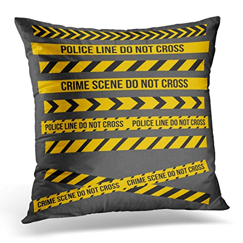 Golee Throw Pillow Cover Yellow Danger and Police Tape Lines for Restriction and Dangerous Zones Construction Site Crime Places Decorative Pillow Case Home Decor Square 16x16 Inches (Construction Zone Throw Pillow)
