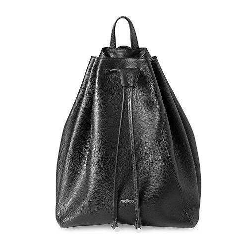 Melkco Fashion chic Mode Series secchio Backpark in zaino taglia M in vera pelle (nero)