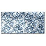 Hawaiian Hibiscus Blue Rectangle Tablecloth: Large Dining Room Kitchen Woven Polyester Custom Print