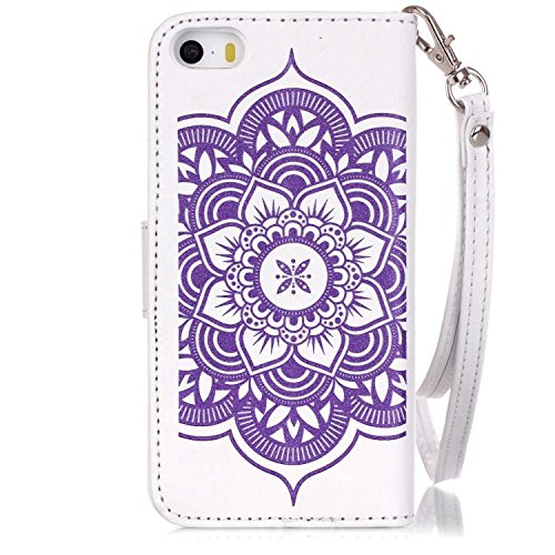 Hovisi Flip Leather Case Cover Leather Wallet Case For Iphone 5/5S/SE (Leather Flip Case Cover)
