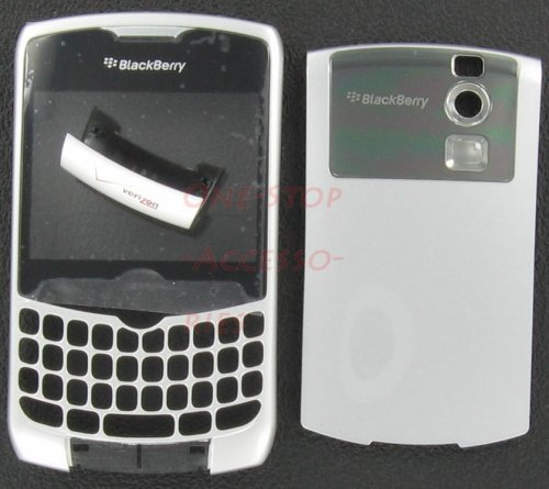 Verizon Silver OEM Original RIM Blackberry 8330 Curve Housing Case Faceplate with Lens U Bottom Cover New Plus Tool Kit T5 Screw Driver & Opener