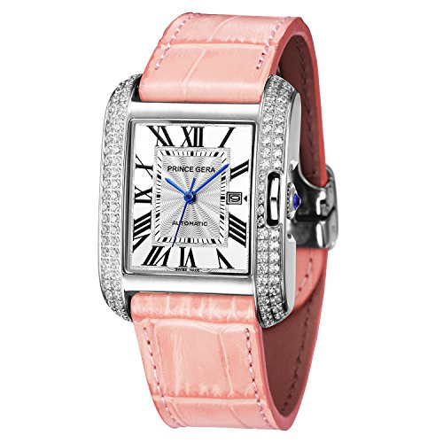 (PRINCE GERA Women's Silver Diamonds Luxury Watch Automatic Pink Genuine Leather Bands Ladies Dress)