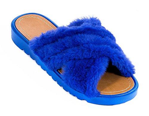 Ecladea Kvinna Mode Bekväma Korsmönstrade Mjuk Fuskpäls Glid Sandaler [slip-on Sandaler] Platta Tofflor Flip Flops Skor Kungsblå