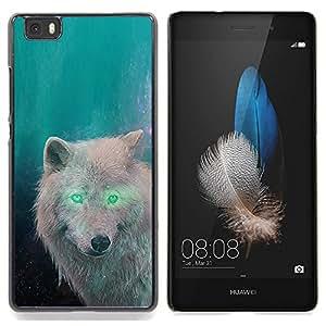 "Qstar Arte & diseño plástico duro Fundas Cover Cubre Hard Case Cover para Huawei Ascend P8 Lite (Not for Normal P8) (White Wolf Eyes extranjero verde bosque mágico"")"