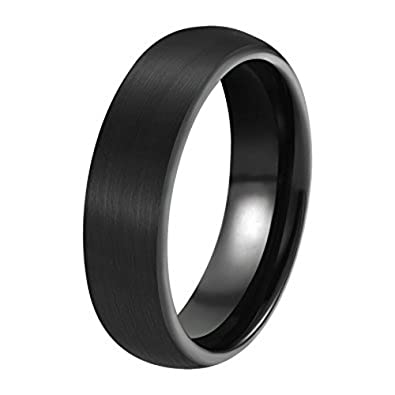 Buy Lecalla Sterling Silver Matte Black Wedding Band Anniversary