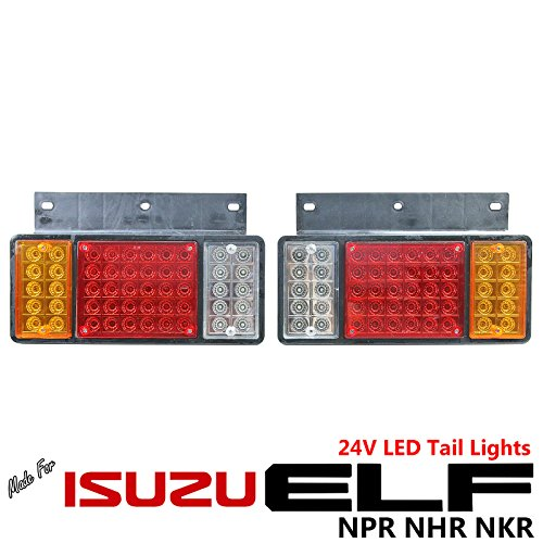 1 Pair Left + Right 24V LED Rear Tail Light Fit Isuzu Elf Truck NPR NKR NHR NLR (Drag Tail Lights)