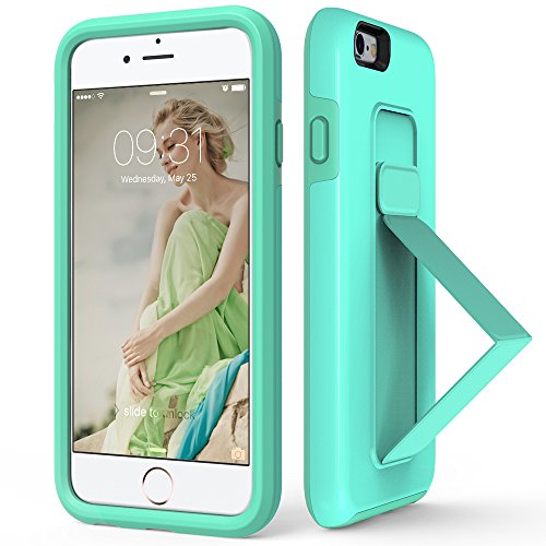 iPhone 6S Plus Case, iPhone 6 Plus Case, ZVEdeng Phone Strap Kickstand Vertical and Horizontal Stand Protective High Impact Defender Dual Layer Case for Apple iPhone 6 Plus / 6s Plus Mint Green ()
