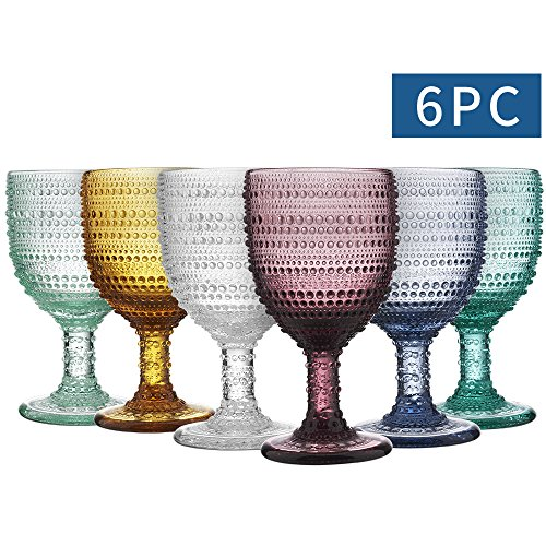 MESHA Beaded Goblet Colored Water Glasses 11 oz Dewdrop Heavy Base Glasses Set, 325 ml Wine Glasses, Set of 6