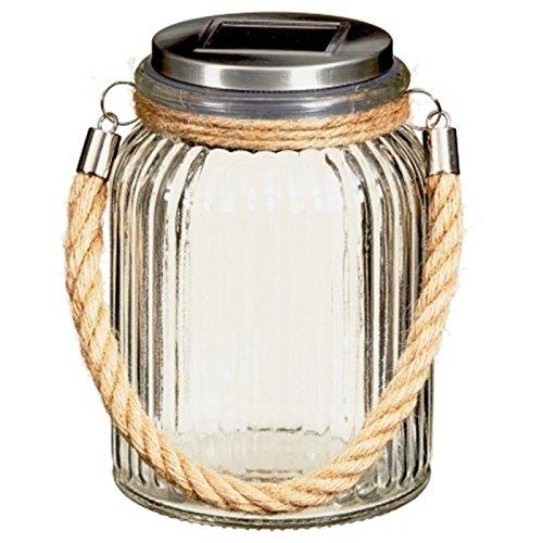 Elegent Garden Solar Powered LED Hanging Glass Jar Rope Light Lantern Table Lamp