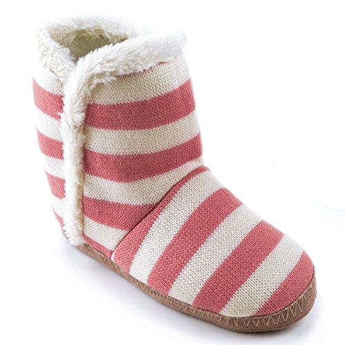 Slumberz Veste en tricot à rayures Chaussons Pantoufles, rose/crème, Taille 5/6