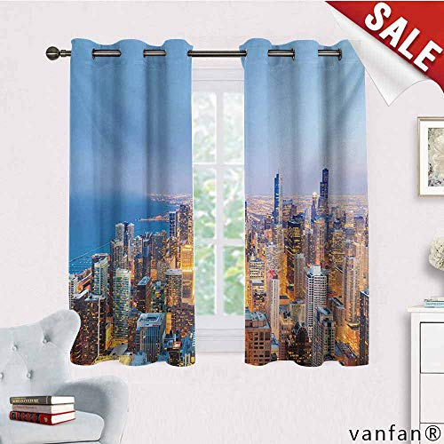 Big datastore Grommet Top,Chicago Skyline,Aerial View of Town with Michigan Lake Vibrant City Panorama Evening Time,Living Room Curtain Panels,Multicolor,W72 Xl72 ()