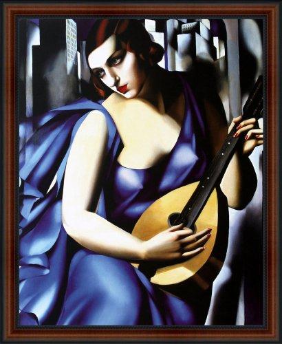 Blue Woman with a Guitar (Femme bleu a la guitare) by Tamara de Lempicka. Framed Fine Art Print Poster. Custom Made Real Wood Dark Walnut with Black Trim Frame (18 ()