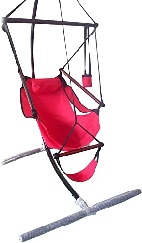 Catwalk Swinging Hammock Chair, Hanging Rope Seat Outdoor Indoor for Bedrooms Outside Trees Adults Kids Red 6.6 lbs